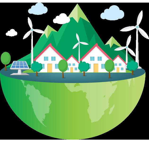 obrazek półkuli ziemskiej - domki - panele fotowoltaiczne i wiatraki